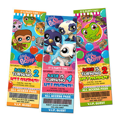 LITTLEST PET SHOP BIRTHDAY PARTY INVITATION TICKET 1ST -c1 CUSTOM first CARD - Littlest Pet Shop Invitations