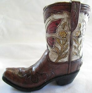 Western Small Ceramic Cowboy Boot Pencil Holder Collectible New (3185D)