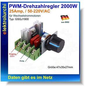 PWM-Drehzahlregler 2000W, 50-220V/AC, 25A, Motor Speed Controller