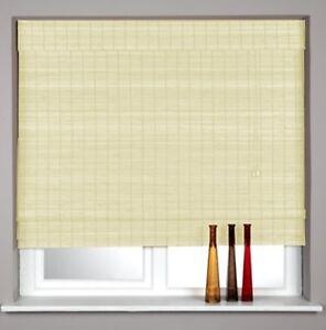 Woven Wood Classic Roman Blinds Cream or Black Finish NEW 60, 90, 120, 180cm