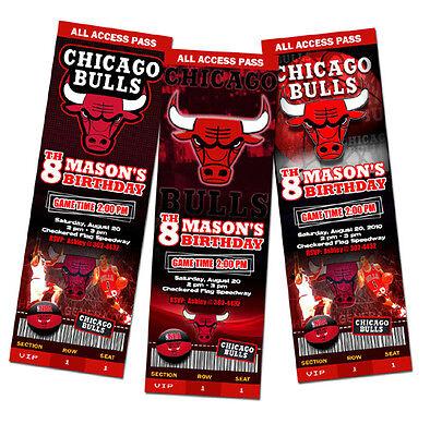 CHICAGO BULLS BIRTHDAY PARTY INVITATION TICKET 1ST CUSTOM ANY TEAM BASKETBALL