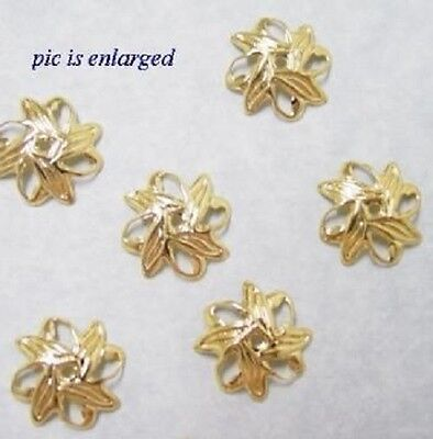 Bead caps gold plated over brass, Leaf Design Filigree findings  10mm - 100 pc