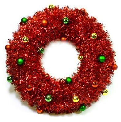 Christmas Garland Red Wreath For Front Door 18″ With Shiny Ornament Balls