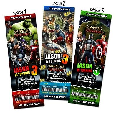 THE AVENGERS BIRTHDAY INVITATION PARTY TICKET CUSTOM PERSONALIZED INVITES - A2 (The Avengers Birthday Party)