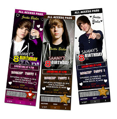 JUSTIN BIEBER BIRTHDAY PARTY INVITATION TICKET PHOTO INVITES customizable - c2 - Justin Bieber Invitations