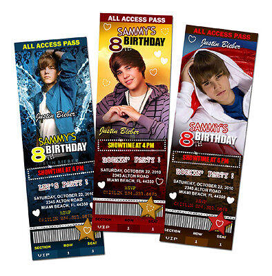 JUSTIN BIEBER BIRTHDAY PARTY INVITATION TICKET PHOTO INVITES 1ST - c1 - Justin Bieber Invitations