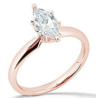 1 Ct Marquise Cut Solitaire Engagement Wedding Ring Solid 14K Rose Pink Gold