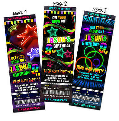 Neon Glow in the dark BIRTHDAY PARTY INVITATION TICKET CARD INVITE dance laser