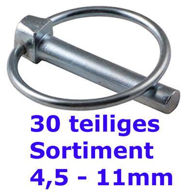Klappstecker Bolzensicherung verzinkt Stahl 4,5 x 32 mm 10 Stück Klappsplint
