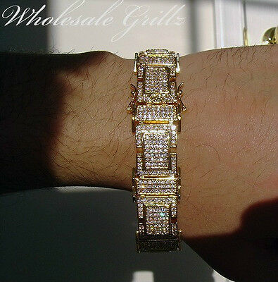 AMAZING! $389 MENS 14K GOLD GP SIMULATE DIAMOND CUSTOM HIPHOP PAVE BRACELET 8.5