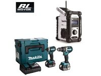 MAKITA DLX2180TJ BRUSHLESS 2-PIECE 18V KIT DHP484 + DTD153 + DMR104W SITE RADIO
