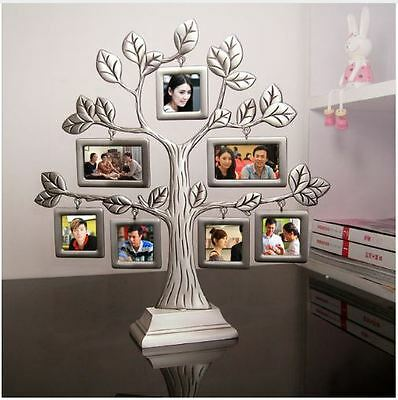Home Decor Desktop Family Tree Hanging Photo Art Collage Metal Picture Frame Set