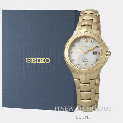 Authentic Seiko Yellow Coutura Solar MOP Dial Watch SUT310