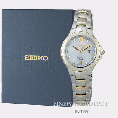 Authentic Seiko Core Women's Solar Coutura MOP Stainless Steel Watch SUT308