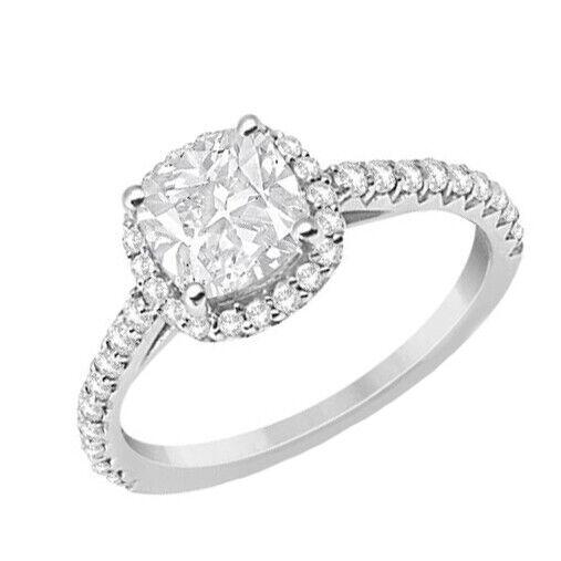 GIA Certified Diamond Engagement Ring 1.30 carat Cushion Shape 14K White Gold