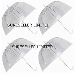 Set of 4 Rain Umbrellas Dome Birdcage Clear Transparent PVC Plastic Wedding