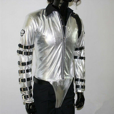 Pop star MJ Costume Silver with straps jacket with FREE glove, hat and - Mj Costume
