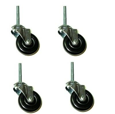 Set Of Four Swivel Stem Caster With 3 Wheel And 12 Threaded Stem 175 Cap.