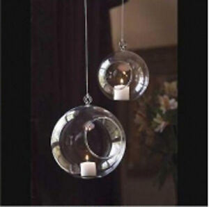50-10cm-Glass-Hanging-ball-tealight-candle-holder-silver-heart-wedding-decor