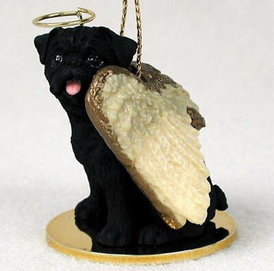 PUG (BLACK) ANGEL DOG CHRISTMAS ORNAMENT HOLIDAY  Figurine Statue Memorial Gift