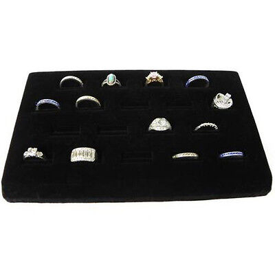 One 18 Slot Ring Display Black Velvet Jewelry Showcase Rings