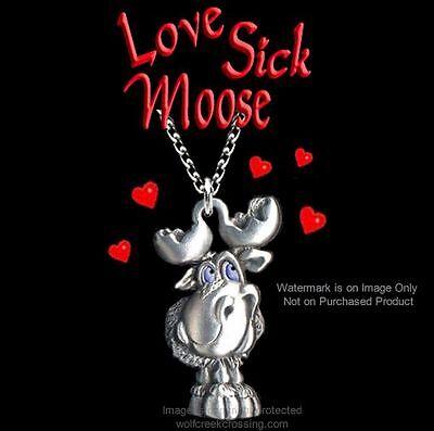 Blue Eyes   Love Sick Moose Necklace 24  Wild Nature Wildlife Jewelry Free Ship