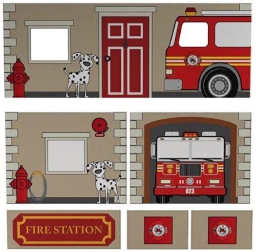 DHP 6-Pc Fire Department Curtain Set for Kids Junior Loft Bed Pretend Play