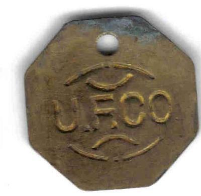 UNITED FRUIT CO, KINGSTON JAMAICA TALLY TOKEN,RULAU UNL