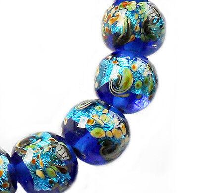 Handmade Lampwork Glass Beads Sparkling Blue 12mm Round 4 Beads (#a4r) - Lampwork Glass Beads