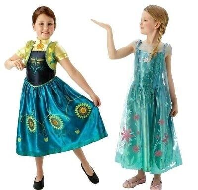 Disney Frozen Fever Deluxe Elsa Anna Fancy Dress Girls Kids Film Party Costume ()