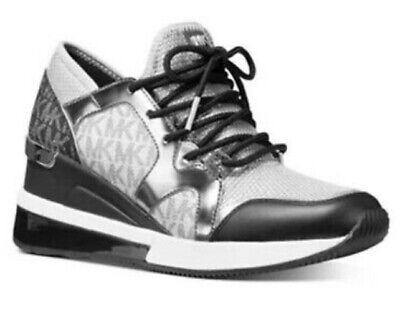 Nib Michael  Kors Women's Liv Trainer Extreme Mesh Sneakers  Silver Multi 7.5m