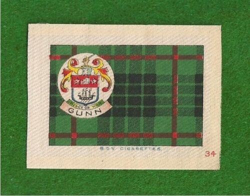 CLAN GUNN CLAN TARTAN & Coat of Arms 1922 original printed silk tartan