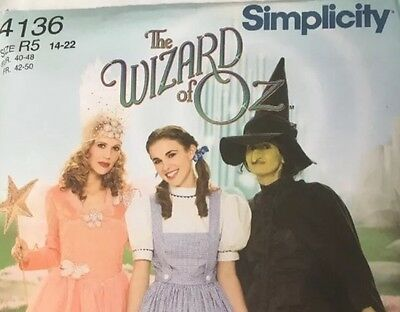 Simplicity/ costume pattern/4136 / New/The Wizard of Oz/ witch/ Dorothy/ glenda - Dorothy Wizard Of Oz Costume Pattern