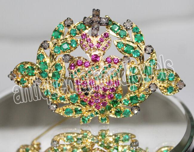 0.80ct Rose Cut Diamond Antique 925 Silver Ruby Emerald Gemstone Brooch Pin