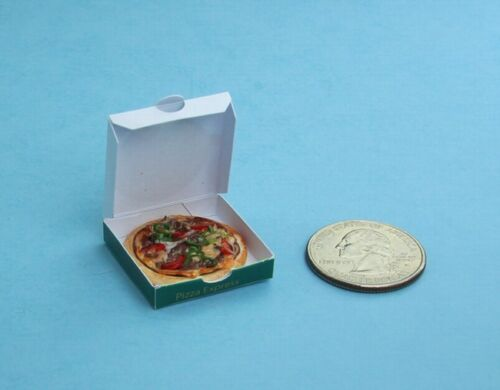 FABULOUS Dollhouse Miniature Realistic Small Pizza with Delivery Box #FP21