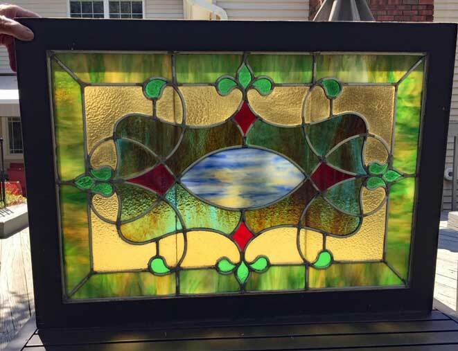 antique Victorian STAINED Leaded GLASS WINDOW - TRANSOM