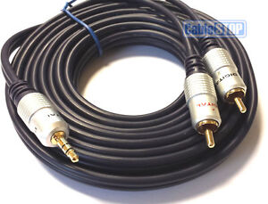 5m-Stereo-3-5mm-Jack-Plug-to-TWIN-2-x-RCA-PHONO-Audio-Lead-GOLD-CABLE-5-METRES