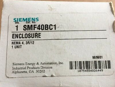 Nib Siemens Smf40bc1 Enclosure Nema 3r 4 12 Outlet Box For Switch Outdoor