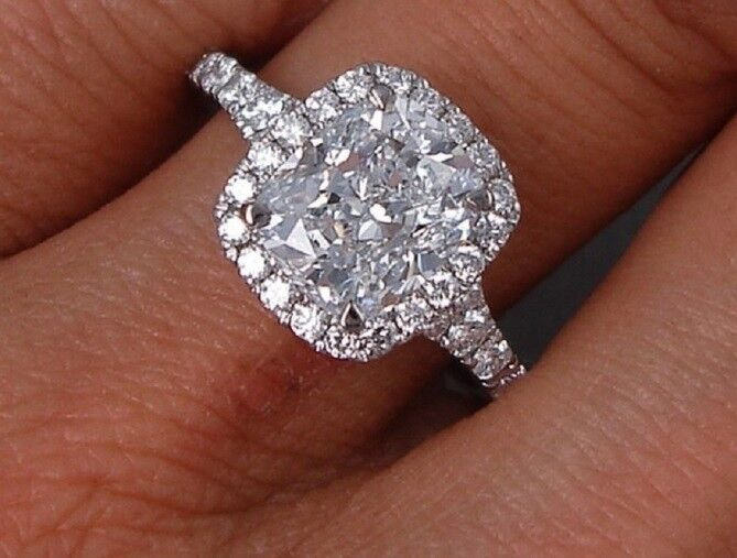 2.10 Ct Halo Cushion Cut Diamond Baby Split Shank Engagement Ring G,VVS2 GIA