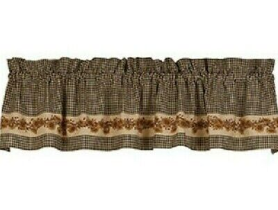 Primitive SUNFLOWERS CURTAIN VALANCE Black Gingham Check Red Berries Farmhouse