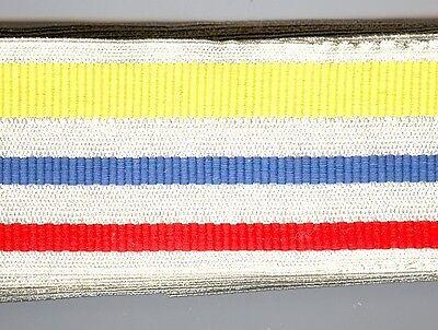 Studentika,Farbenband,5m,unbenützt,Silber,Rot,Silber,Blau,Silber,Gelb,Silbe