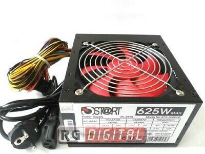 Alimentatore 625W Watt Ventola Rossa 12cm Silent Modding Pc Desktop trustech