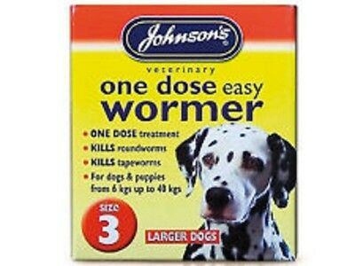 Johnsons One Dose Easy Wormer Dog Worming Tablets large dogs Size 3