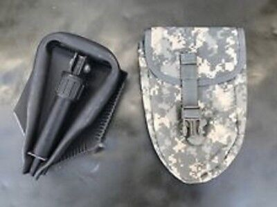 MINT US Army Military AMES Entrenching Folding E-Tool Shovel & Used ACU Cover - Entrenching Tool Shovel