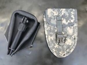 NEW US Army Military Entrenching Folding E-Tool Shovel & Used ACU Cover AMES