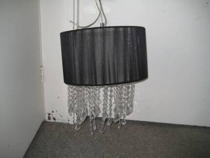CRYSTAL PENDANT LIGHT + FREE FISHBOWL TABLE LAMP