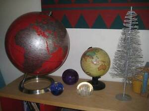 RED METAL DESK GLOBE + FREE FRUIT BOWL, PAPERWEIGHTS, SMALL GLOBE Kirribilli North Sydney Area Preview