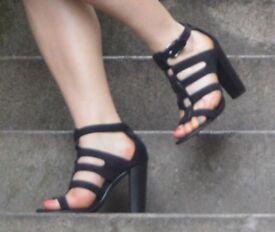 Black Gladiator Style Heeled Sandals. Size 7