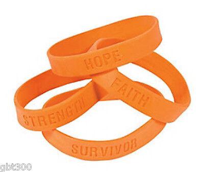 48 Orange Ribbon Rubber Bracelets Lot Kidney Leukemia Cancer Awareness Wristband Cancer Awareness Rubber Bracelets