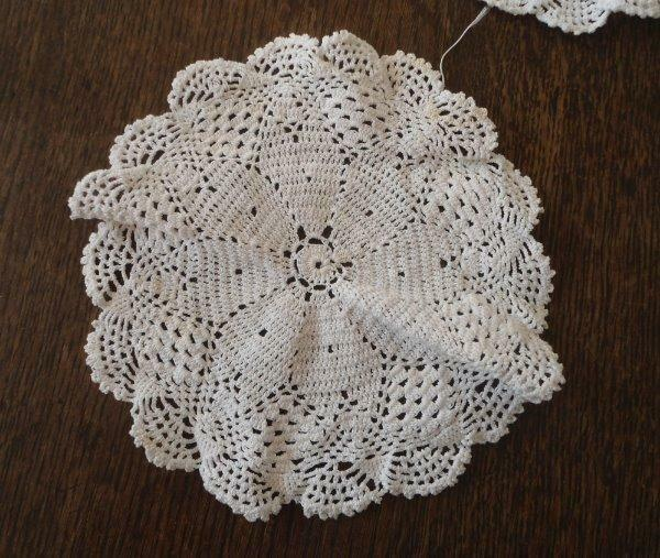 "Vintage Set 6 Snowflake Crochet Lace Doilies Rounds White Coaster Doily 6"""
